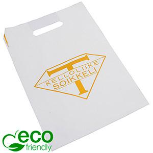 Bedrukte ECO plastic draagtasjes, medium Mat wit gerecycled plastic/ Logo in 1 kleur 250 x 350 50 my