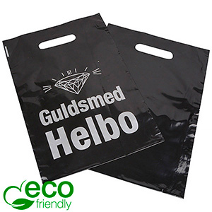 Sturdy, branded ECO plastic carrier bags, medium Glossy black recycled plastic/ Print in 1 colour 250 x 350 70 my