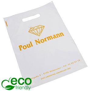 Stevige bedrukte ECO plastic draagtasjes, medium Glanzend wit gerecycled plastic/ Logo in 1 kleur 250 x 350 70 my