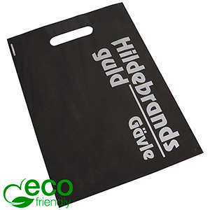 Sturdy, branded ECO plastic carrier bags, medium Matt black recycled plastic/ Print in 1 colour 250 x 350 70 my