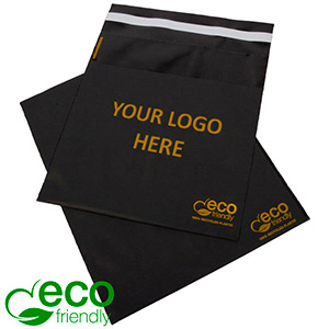 Branded ECO-friendly Self-sealing Shipping Bag Matt black recycled plastic/ Print in 1 colour 200 x 200 60 my
