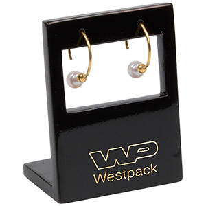 Display for Long Earrings, large Black glossy wood, with logo print 45 x 60 x 30