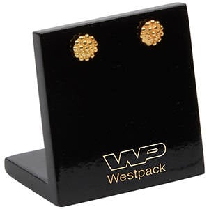 Display for Small Earrings and Studs, small Black glossy wood, with logo print 45 x 45 x 30