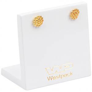 Présentoir BO - Plaque 1 paire BO/pendantes, P.M. Bois laqué blanc, avec impression 45 x 45 x 30