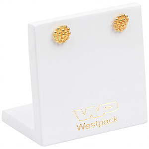 Display for Small Earrings and Studs, small White glossy wood, with logo print 45 x 45 x 30