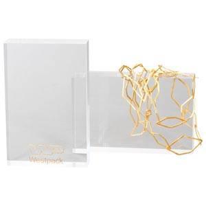 Display Block, Mellan Transparent acryl, med logotryck 170 x 110 x 35