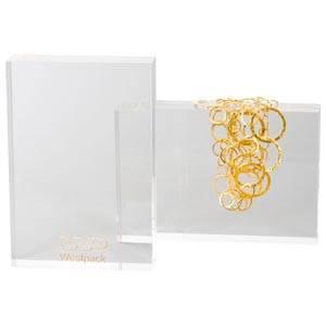 Display Block, Stor Transparent acryl, med logotryck 220 x 150 x 40