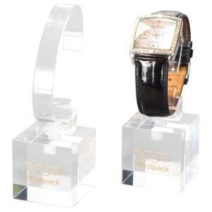 Display met klem voor Horloge, klein Transparant acryl, met bedrukking 40 x 40 x 40