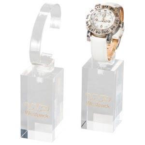 Présentoir montre - Plot de montre vertical, G.M. Plexi transparent, avec Impression 40 x 40 x 80