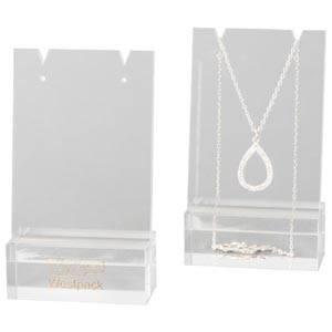 Présentoir collier - Plaque présentation, Mini Plexi transparent, avec Impression 60 x 103 x 30