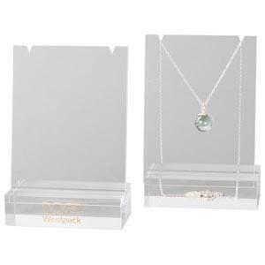 Présentoir collier - Plaque présentation, P.M. Plexi transparent, avec Impression 90 x 134 x 50
