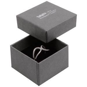 Grootverpakking -  Boston doosje voor ring Grijs karton met linnen structuur / Zwart foam 50 x 50 x 32 (44 x 44 x 30 mm)