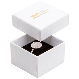 Grootverpakking -  Boston doosje voor ring Wit karton met linnen structuur / Zwart foam 50 x 50 x 32 (44 x 44 x 30 mm)