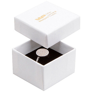 Bulk buy -  Boston box for ring White linen-look cardboard/ Black foam 50 x 50 x 32 (44 x 44 x 30 mm)