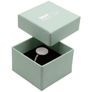 Großeinkauf -  Boston Ringschachtel Minzgrün Karton / Schwarzer Einsatz 50 x 50 x 32 (44 x 44 x 30 mm)