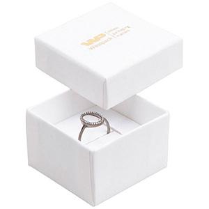 Grootverpakking -  Boston doosje voor ring Wit karton met linnen structuur / Wit foam 50 x 50 x 32 (44 x 44 x 30 mm)