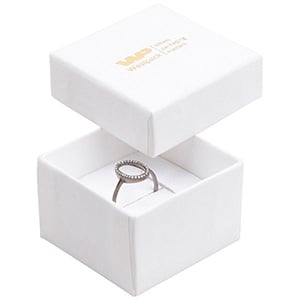 Großeinkauf -  Boston Ringschachtel Weißer Karton, Leinen-Look/ Weißer Einsatz 50 x 50 x 32 (44 x 44 x 30 mm)