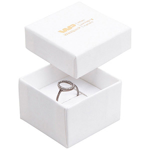 Storkøb -  Boston smykkeæske til ring Hvid karton med let struktur / Hvid skumindsats 50 x 50 x 32 (44 x 44 x 30 mm)