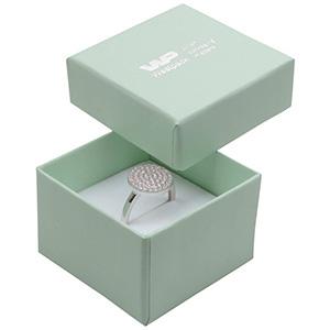 Bulk buy -  Boston box for ring Mint green cardboard / White foam 50 x 50 x 32 (44 x 44 x 30 mm)