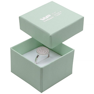 Storkøb -  Boston smykkeæske til ring Mint karton / Hvid skumindsats 50 x 50 x 32 (44 x 44 x 30 mm)
