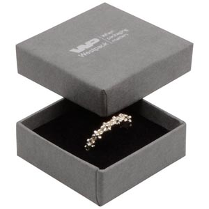 Storköp -Frankfurt smyckesask till ring Grå kartong, linne-look / Svart skuminsats 50 x 50 x 17 (44 x 44 x 15 mm)