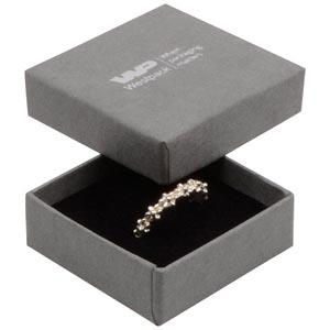 Grootverpakking -  Frankfurt doosje voor ring Grijs karton met linnen structuur / Zwart foam 50 x 50 x 17 (44 x 44 x 15 mm)