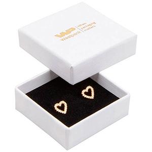Grootverpakking -  Frankfurt doosje voor ring Wit karton met linnen structuur / Zwart foam 50 x 50 x 17 (44 x 44 x 15 mm)