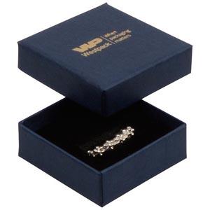 Storköp -Frankfurt smyckesask till ring Mörkblå kartong, linne-look / Svart skuminsats 50 x 50 x 17 (44 x 44 x 15 mm)