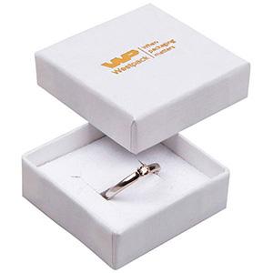Grootverpakking -  Frankfurt doosje voor ring Wit karton met linnen structuur / Wit foam 50 x 50 x 17 (44 x 44 x 15 mm)