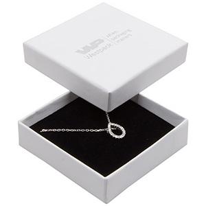 Storköp -Frankfurt smyckesask till halskjeda/hänge Vit kartong, linne-look/ Svart skuminsats 65 x 65 x 17 (59 x 59 x 15 mm)