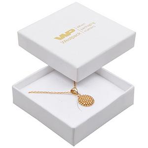 Storköp -Frankfurt smyckesask till halskjeda/hänge Vit kartong, linne-look/ Vit skuminsats 65 x 65 x 17 (59 x 59 x 15 mm)