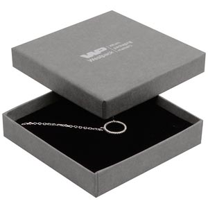 Grootverpakking -  Frankfurt doosje hanger/armband Grijs karton met linnen structuur / Zwart foam 86 x 86 x 17 (82 x 82 x 7 mm)