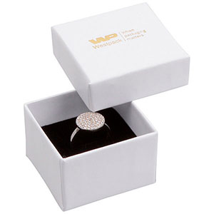 Grootverpakking -  Santiago doosje voor ring Wit Karton / Zwart foam 50 x 50 x 32 (44 x 44 x 30 mm)