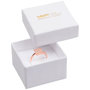 Storköp -Santiago smyckesask till ring Vit kartong/ Vit skuminsats 50 x 50 x 32 (44 x 44 x 30 mm)