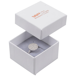 Storköp -Santiago smyckesask till ring Vit kartong/ Grå skuminsats 50 x 50 x 32 (44 x 44 x 30 mm)