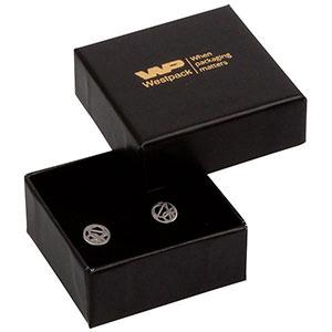 Storkøb -  Santiago smykkeæske øreringe/ørestikker Sort karton / Sort skumindsats 50 x 50 x 22 (44 x 44 x 20 mm)
