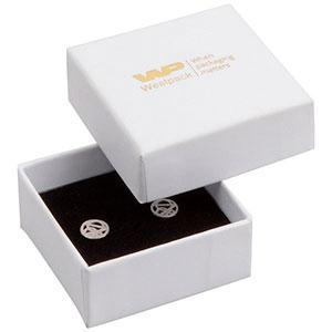 Grootverpakking -  Santiago doosje oorsieraden Wit Karton / Zwart foam 50 x 50 x 22 (44 x 44 x 20 mm)