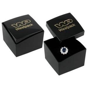 Grootverpakking -  Copenhagen doosje voor ring Zwarte deksel, zwarte bodem / Zwart foam 43 x 43 x 32