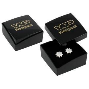 Grootverpakking -  Copenhagen doosje oorsieraden Zwarte deksel, zwarte bodem / Zwart foam 43 x 43 x 20