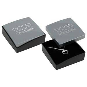 Bulk buy -  Copenhagen box for earrings / pendant Silver lid, black base / Black foam 60 x 60 x 21