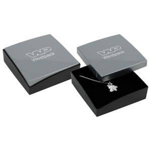 Storköp -Copenhagen smyckesask till hänge/armband Silver lock, svart botten / Svart skuminsats 80 x 80 x 24