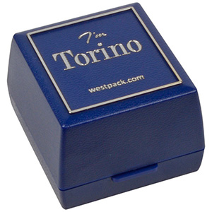 Bulk buy -  Torino box for ring Blue plastic with silver tooling / Black foam 44 x 47 x 33
