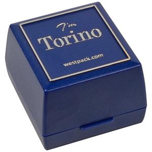 Storkøb -  Torino smykkeæske til ring Blå plastik med sølvkant / Sort skumindsats 44 x 47 x 33