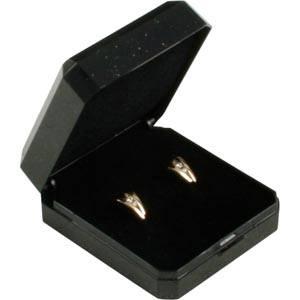 Storkøb -  Verona æske til øreringe / broche Sort plastik med glitter og guldkant / Sort skum 45 x 50 x 22