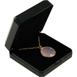 Storkøb -  Verona smykkeæske til vedhæng/ øreringe Sort plastik med glitter og guldkant / Sort skum 60 x 60 x 23