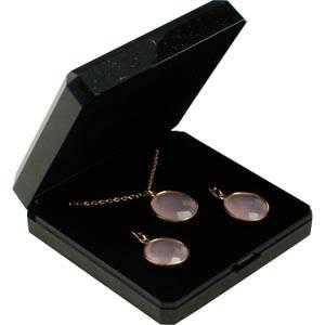 Storkøb -  Verona smykkeæske til halskæde/ armbånd Sort plastik med glitter og guldkant / Sort skum 85 x 85 x 26