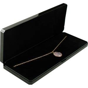Bulk buy -  Verona box for necklace, oblong Black plastic with gold tooling/ Black foam 210 x 80 x 25