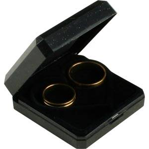 Bulk buy -  Verona box for wedding bands Black plastic with gold tooling/ Black foam 60 x 60 x 23