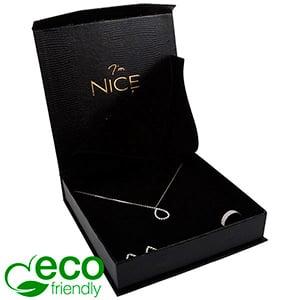 Nice ECO Jewellery Box for Necklace Black Croco Leatherette Cardboard/ Black foam 165 x 165 x 35 (159 x 159 x 24 mm)