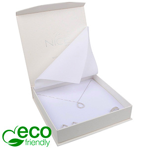Nice ECO Jewellery Box for Necklace Cream Croco Leatherette Cardboard/ White Insert 165 x 165 x 35 (159 x 159 x 24 mm)